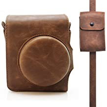 HelloHelio Retro Classic Leatherette Instax Camera Vintage Compact Case For Fujifilm Instax Mini 90 Neo Classic Instant Film Camera with Pocket Strap (Brown Case with Strap)