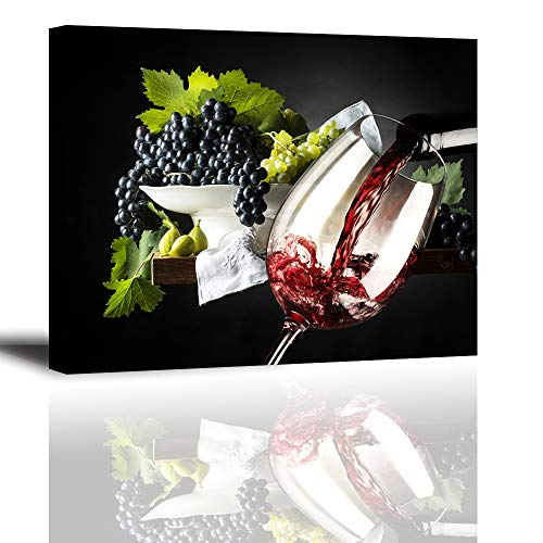 Kitchen Pictures Wall Decor for Dining Room, SZ Vintage Wine and Grapes Canvas Art Prints, Pouring Wine Glass Cup Picture, Bracket Mounted Ready to Hang, 1