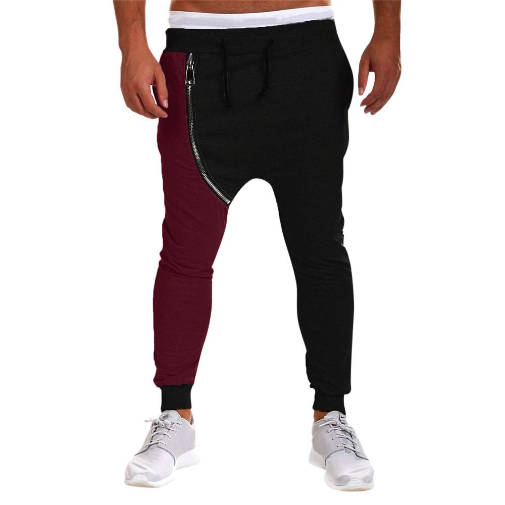 PASATO Clearace Sale! Men's Casual Autumn Winter Cotton Zipper Hip Hop Trousers Joggers Harem Pants(Black, M) by PASATO (Image #1)