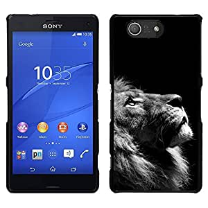 Stuss Case / Funda Carcasa protectora - Lion Photo Black White Looking Up Art - Sony Xperia Z3 Compact