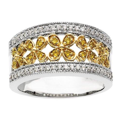 (Beautiful 3/8 Ctw Yellow & White Diamond Ring)