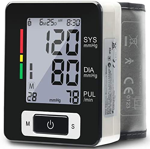 Wrist Blood Pressure Monitor – Blood Pressure Cuff Wrist, 5.3 – 8.5 Cuff Size, 180 Readings Memory for 2 Users, Irregular Heartbeat Detection, Pulse Rate Monitoring, Black – Portable Case Included