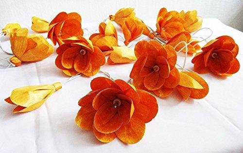 [Thai Vintage Orange Roses Sesbania Artificial Flower 20 String Lights Outdoor Patio Party Christmas Lighting] (Outdoor Halloween Ideas)