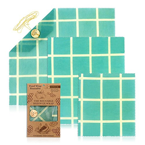 JUNMAO Reusable Beeswax Food Wraps,Eco Friendly&Sustainable Plastic Free Food Storage,Handmade,Healthy,Plastic Free and Washable,Assorted 3 Packs- 1 Large,1 Medium,1 Small