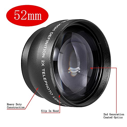 Neewer 52MM 2x Telephoto Conversion Lens with Lens Bag,for Nikon D3000, D3100, D5000, D5100, D7000, D7100, D600, D610, D700, D750, D800, D800E, D810 Digital SLR Camera