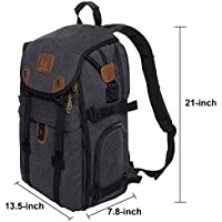 """DIGIANT Extra Large DSLR Camera Backpack, Canvas Camera Bag with Rain Cover for Cameras/Lenses/Tablet/17.3"""" Laptop"""
