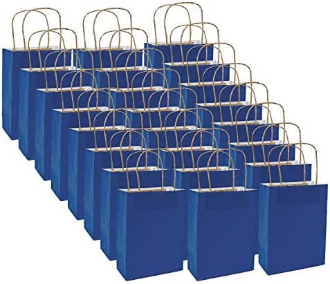 Fun Express Medium Blue Kraft Paper Gift Bags | 24 Count | Great for Birthday Parties, Holiday Celebrations, Shopping Tote