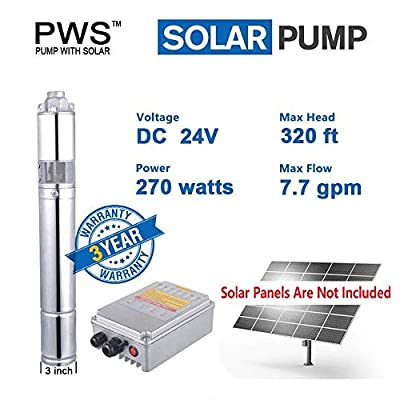 PWS Stainless Steel 316 Submersible Solar Water Well Pump Kit
