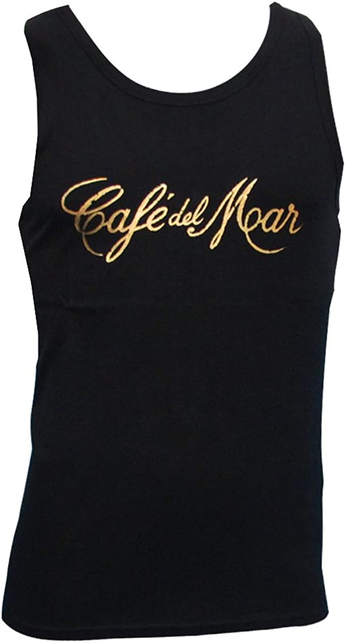 Café del Mar Ibiza: Camiseta sin Mangas Negra con Logo Vintage: Amazon.es: Ropa y accesorios