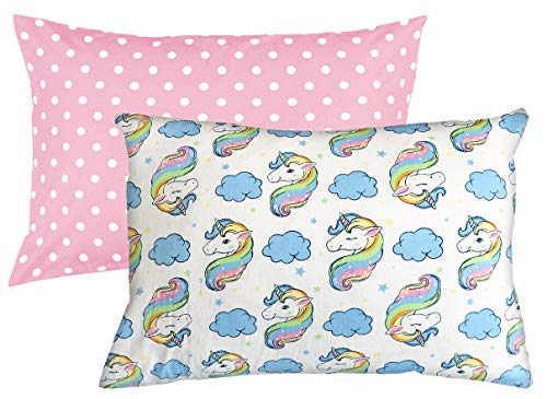 Toddler Pillowcase 2 Pack Set 100% Cotton 200 Thread Count Fits 13×18 and 14×19 Toddler Pillows by Dreamtown Kids…