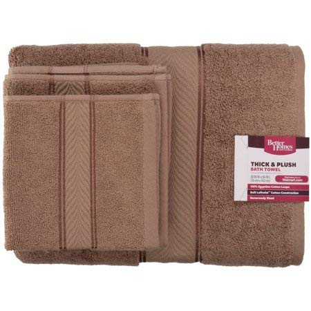 Better Homes and Gardens Thick and Plush Bath Towel Collection - 6 Piece Bath Towel, Toasted Brown