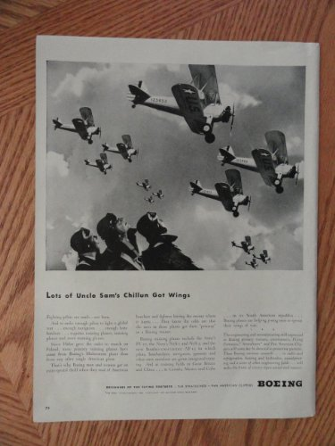 - Boeing print ad. Full page Illustration (Lots of Uncle Sam's Chillun got wings) Original Vintage 40's Life Magazine Illustration