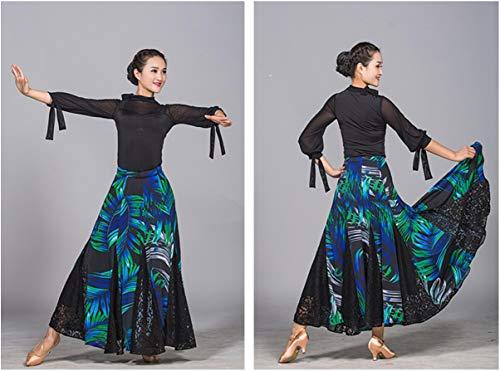 Bal Soie Coloré Blue Moderne Salle Grand Z Compétition amp;x De fil Danse Femmes S Costume Pour Vêtements xxxl Jupe Pendule Les Glace 1Bw7BxqZU