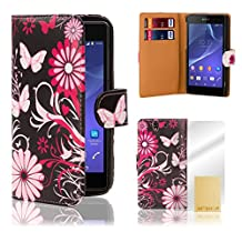 32nd® Designer book wallet PU leather case cover for Sony Xperia Z (L36h / L36i / C6603) + screen protector and cloth - Gerbera