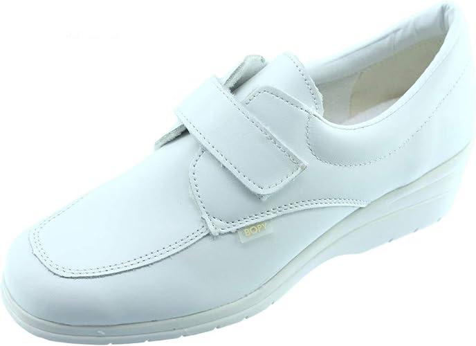 Bopy Deluge Confortable by Tennis Baskets Velcro pour Femme Chaussure Sport Scratch Pieds sensibles Confort Cuir Beige