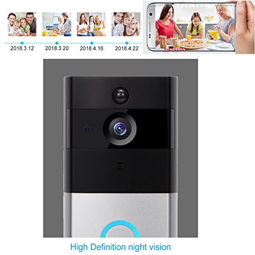 Akpote Video Doorbell,Smart WiFi Camera 720P HD 166ﹾ Lens with 6 LED Night Vision Wireless Visual Doorbell IP55 Real-Time Two-Way Audio PIR Motion Detection, App for iOS and Android with 16G TF Card by Akpote (Image #4)