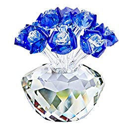 Blue Crystal Rose Flowers Ornament Gift