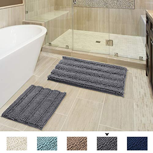 Extra Soft and Absorbent Shaggy Rugs, Original Luxury Striped Chenille Bathroom Rug Mat, Machine Washable, Perfect Plush Carpet Mats for Tub, Shower and Bath Room (20