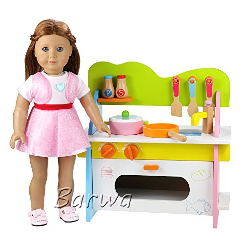 Barwa Wooden Doll Kitchen Furniture Pretend Role Play Toy Kitchen for 18 Inch American Girl Doll