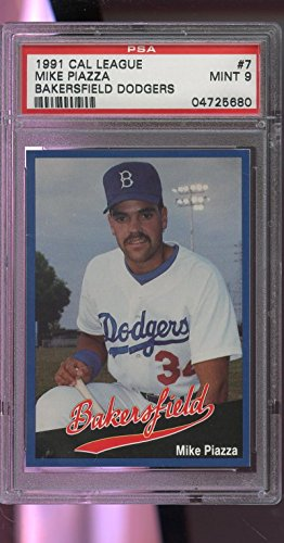 1991 Cal League Bakersfield Dodgers #7 Mike Piazza ROOKIE MINT Card PSA 9 Graded
