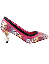 Show Story Fab Autumn Woods Print Party Pointed Toe Exquisite Pearl Heel Dress Pump,LF60415