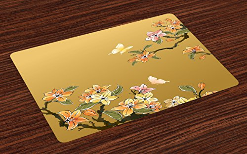 Lunarable Ethnic Place Mats Set of 4, Chinese Ink Butterfly Plum Motif Heritage Oriental Eastern Illıstration, Washable Fabric Placemats for Dining Room Kitchen Table Decor, Pastel Yellow