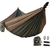 Hammock IMISI Double 2 Person Portable Parachute Nylon Fabric Travel 450lbs Ultralight Military Grade Camping Hammock Set Double Wide Outdoor Travel Multifunctional Lightweight Suspension System Compa