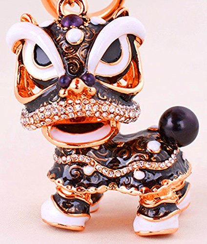 JewelBeauty Chinese Style Keychain Dance Lion Rhinestone Pendant Key Chain Keyring for Car Handbag Charm Creative Gift (Black) (Best Chinese Lion Dance)