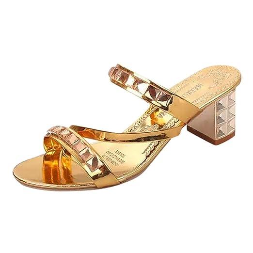 5e9d2ffb6ede3 Amazon.com: Hunzed Women【Rhinestone Slippers】 Summer Women's ...