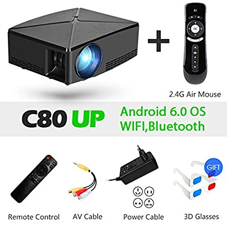 Proyector, C80 UP, resolución 1280x720, Proyector Android WiFi ...