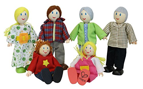 Hape Award Winning Caucasian Doll Family Set for Kid's Dollhouses