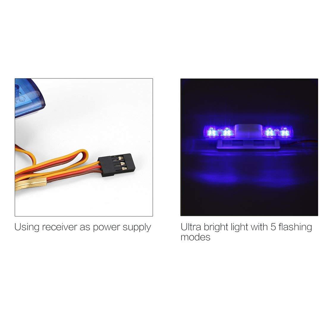 AX-501 multifunci/ón intermitente LED intermitente Polic/ía RC Luces del coche L/ámpara para 1//10 1//8 HSP Traxxas TAMIYA CC01 Axial SCX10 D90