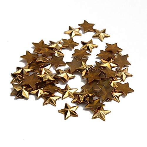 Beadsland Hotfix Iron On, 10mm Flat Back Star Studs - 1/4 FlatBack Glue on Studs 100pcs (Gold Color)