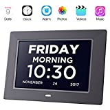Day Clock Extra Large Impaired Vision Digital Alzheimer Clock Dementia with Time, Day and Date, Month and Year Showing, Calendar/Photo Display Function, for Elderly, Memory Loss,Alzheimer