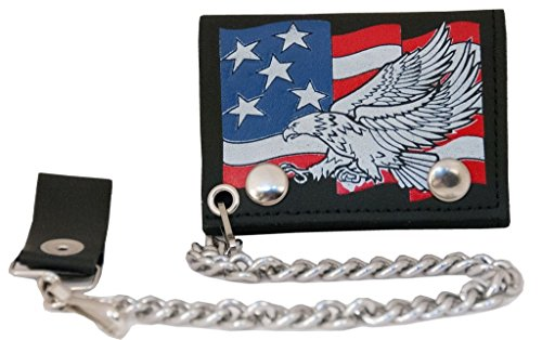 - Trifold Genuine Leather Wallet W/Chain,Made In USA,Flag and Flying Eagle,TC304CC-122