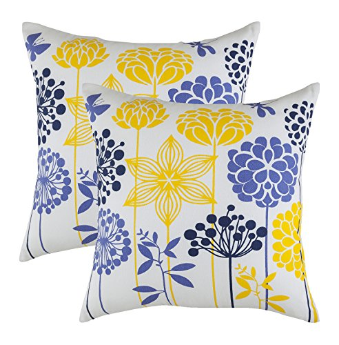 TreeWool, (2 Pack) Throw Pillow Covers Blossom Accent Decorative Pillowcases Toss Pillow Cushion Shams Slips Covers for Sofa Couch or Bed (18 x 18 Inches / 45 x 45 cm; ()