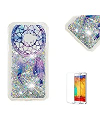 Funyye Glitter Liquid Case for Samsung Galaxy Xcover 4,Stylish Multi-Coloured Sparkle Quicksand Dream Catcher Design Ultra thin Transparent Shell Case for Samsung Galaxy Xcover 4,Soft Flexible Silicone Gel TPU Bumper Back Cover Case for Samsung Galaxy Xcover 4 + 1 x Free Screen Protector