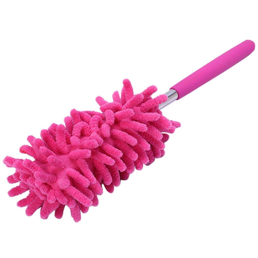 Tpingfe Telescopic Microfibre Duster, Retractable Long-Reach Washable Extendable Dusting Brush Dust Handle For Home Car Cleaning (Hot pink)