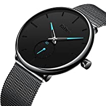 Mens Watches Black Ultra Thin Casual Minimalist Fashion Business Dress Waterproof Quartz Watch for Boys with Mesh Band Black Blue