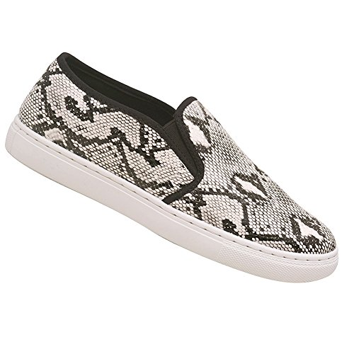 ANNA Adult Black White Snake Skin Pattern Laceless Sneakers 6-10 Womens Fa77fyJWNa