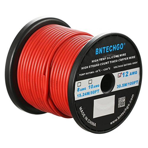 BNTECHGO 12 Gauge Silicone Wire Spool Red 100 feet Ultra Flexible High Temp 200 deg C 600V 12 AWG Silicone Rubber Wire 680 Strands of Tinned Copper Wire Stranded Wire for Model Battery Low Impedance