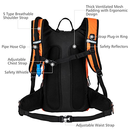 RUPUMPACK Insulated Hydration Backpack Pack with 2.5L BPA Free Bladder, Lightweight Daypack Water Backpack for Hiking Running Cycling Camping, Commuter, Fits Men, Women, Kids, 18L