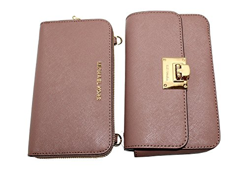 14a15d6f7136 MICHAEL Michael Kors Tina Women's Wallet Clutch Xbody Shoulder Leather  Double Bag (Dusty Rose). Dusty Rose