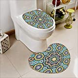 also easy 2 Piece Toilet mat set seamless pattern in moroccan style mosaic tile islamic traditional ornament geometric 2 Piece Heart shaped foot pad set