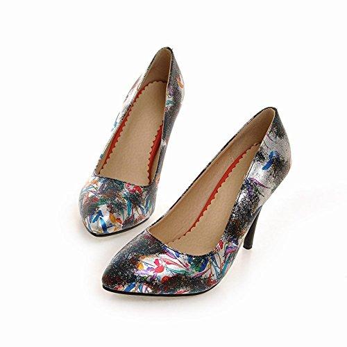 MissSaSa Damen elegant High-heel Pointed Toe Low-cut Stoffdruck Pumps mit Trichterabsatz Schwarz