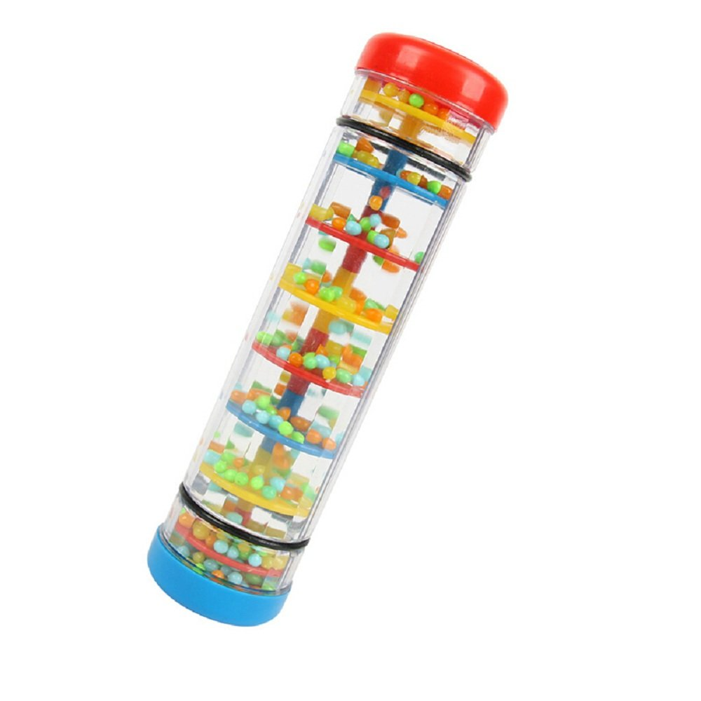 Here Fashion 8'' Beaded Raindrops Rainmaker Rattle Toddler Musical Toy for Preschool Kid or for Teaching