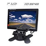 HD Car Monitor Padarsey 7'' HD 800×480 LED Backlight TFT LCD Monitor for Car Rearview Cameras, Car DVD, Serveillance Camera, STB, Satellite Receiver and Other Video Equipment