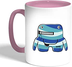 Printed Coffee Mug, Pink Color, Cartoons