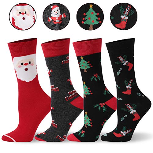 SHETOP Festive Gifts Funny Novelty Dress Holiday Socks Unisex, Colorful Apparel Fashion Holiday Cute Funny Casual Happy Socks for Women Present for Son Daughter 4 Pairs