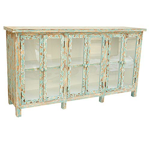 Crestview Collection Dawson Creek Weathered Oak and Cyan 6 Door Sideboard
